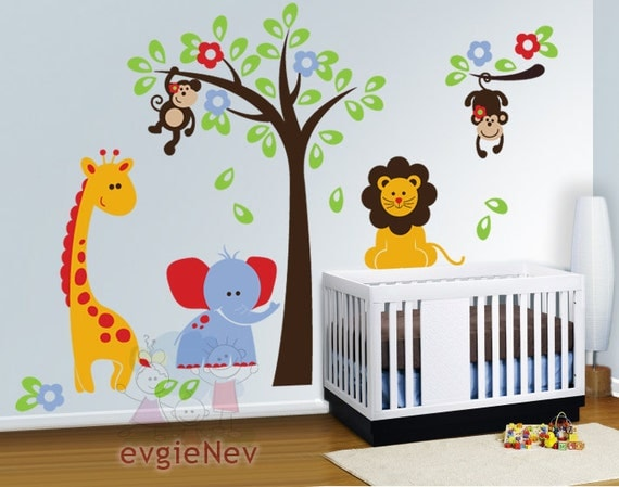 Nursery wall decals baby wall decal safari wall decal for Stickers decorativos