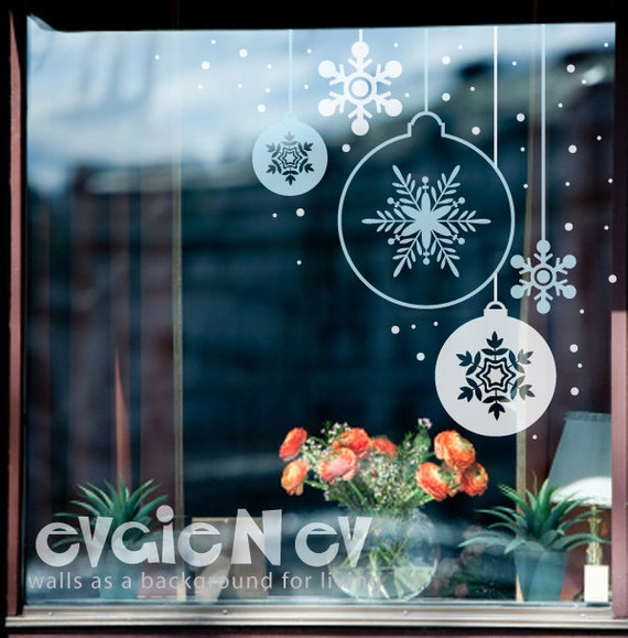 Snowflakes Ornament Stickers Holiday Decor Decals