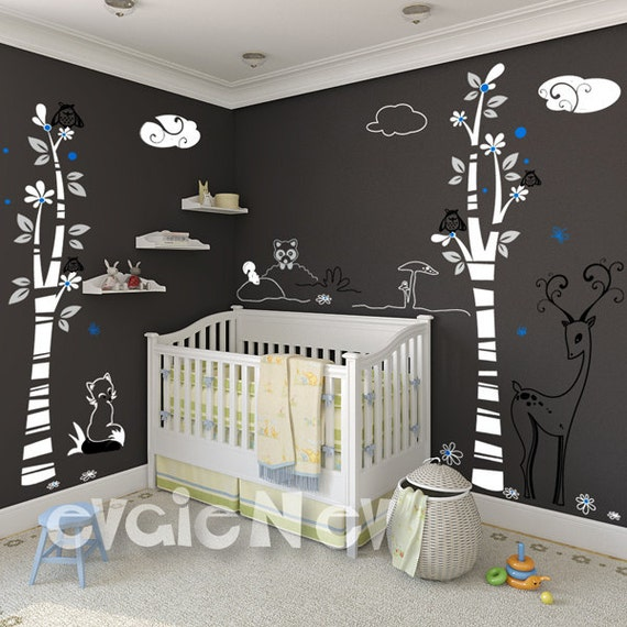 Delicate Woodland Wall Decals - Nursery Animals Wall Stickers - PLDW020L