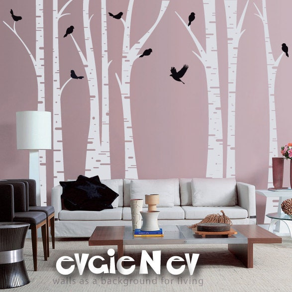 ... Decals - Famous Birch Trees with Birds Wall Sticker - TRFR010R. 🔎zoom