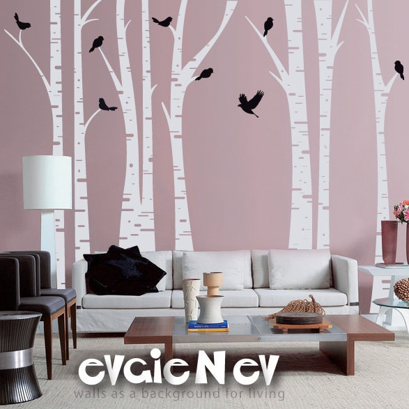 Forest Wall Decals Famous Birch Trees with Birds Wall
