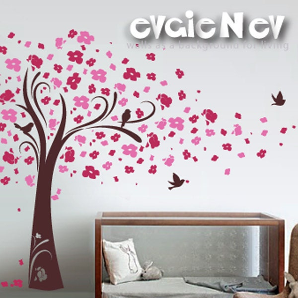Cherry blossom wall decals tree with birds wall stickers for Cherry blossom tree wall mural