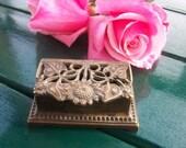 Vintage Floral Brass Stamp Box/Paper Weight  Online Vintage, vintage clothing, home accents, vintage dress