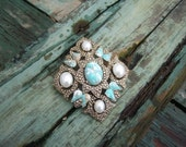 Sarah Coventry Pearl Turquoise Brooch/Pendant