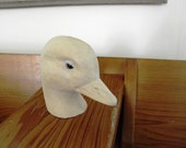 Hand Carved Natural Wooden Duck Head