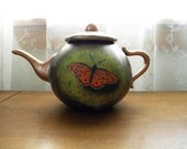 On Sale Hand-Carved Painted Butterfly Gourd Faux Teapot, Winner Pearl River Carving Show by Lane Brigham, Carver