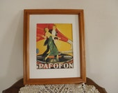 Vintage Grafofoni Columbia Poster, 1920, Framed Wood, White Matte