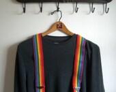 Vintage Rainbow Elastic Suspenders Honcho Hipster