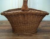 Vintage Large Wicker Flower Basket