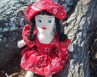 """Vintage 15-1/2"""" Handmade Cloth Doll 1960  Online Vintage, vintage clothing, home accents, vintage dress"""