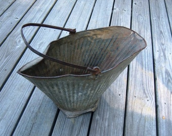 Online Antique Grey Rustic Metal Coal Bucket  Online Vintage vintage clothing, home accents, vintage dress