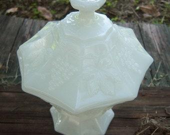 Vintage Milk Glass Covered Dish, Grapevine Motif Home Decor New Orleans Vintage Shop Holiday Retro