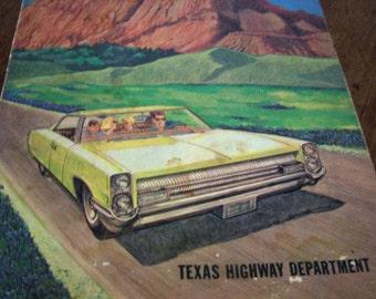 Texas Highway Department Travel Handbook 1960's Highway Magazine Color Paper History