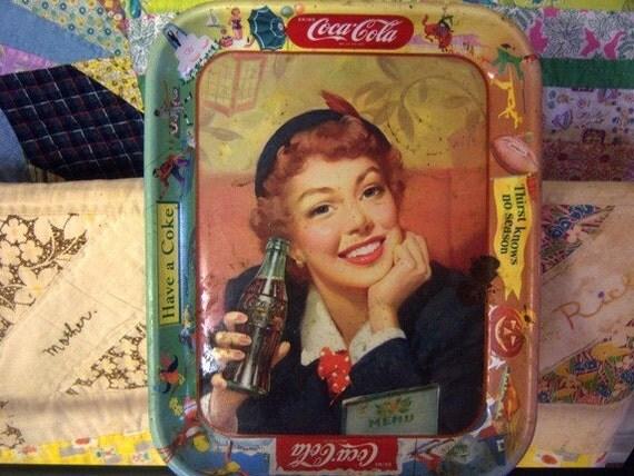 Vintage/ Coke 1953 Menu Girl Coca Cola  Tray Rusty New Orleans Jackson Serving Tray Coke Memorabilia