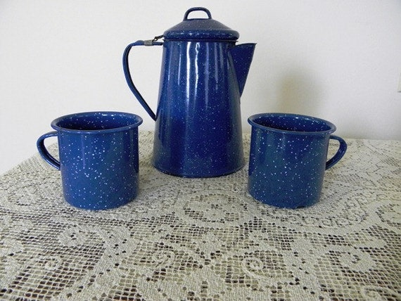 Speckled Enamelware Coffee Pot Matching Cups - Use Eveteam Coupon