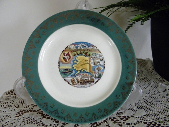 Vintage Antique Homer Laughlin Alaska Souvenir Plate