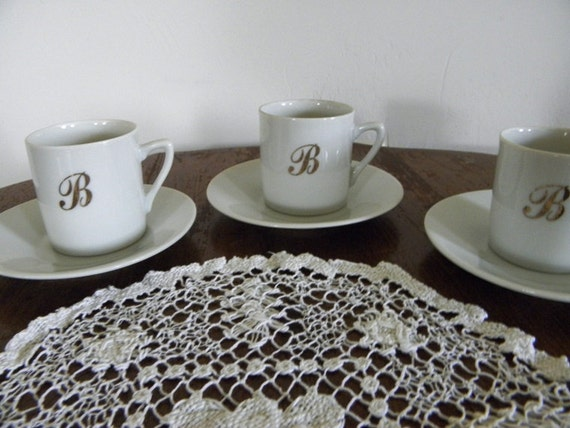 Vintage White Demitasse Cups and Saucers Personalized B Tea Party Home Decor New Orleans Vintage Shop Holiday Retro