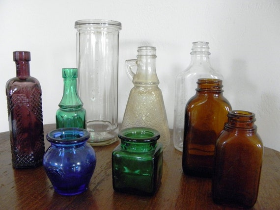 Vintage Clear, Brown, Color Glass Bottle Collection