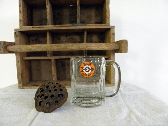 Vintage A&W Root Beer Mug Roswell. New Mexico Fast Food Beverage Drink Glass Orange Brown Arrow