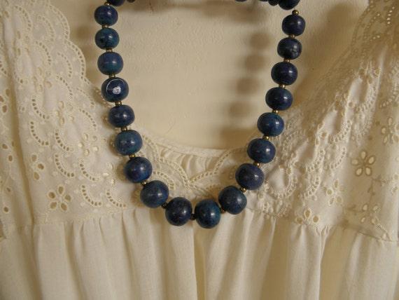 Vintage Chunky Blue Stone Necklace