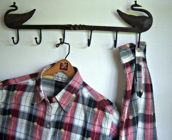 Vintage Long Sleeve Red Black Women's Shirt