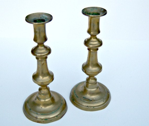 Vintage Brass Candle Stick Pair