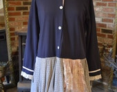 Red tag- Eco-Friendly/ Upcycled sailor dress/Large