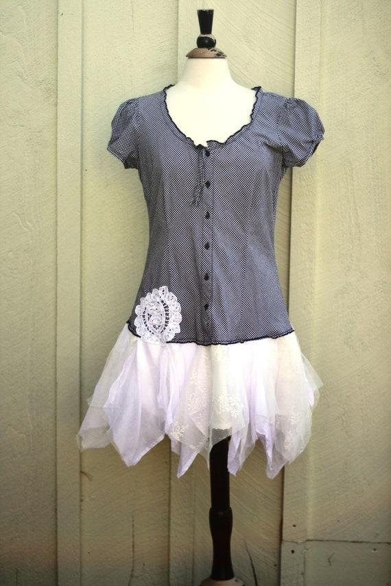 Eco-Friendly / Upcycled / Romantic Mini Dress / Medium by Europeaninboston