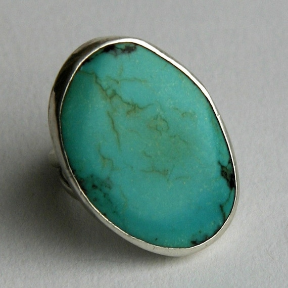 Large Vintage Sterling Silver Natural Turquoise Native Artisan Ring Unisex 1970s