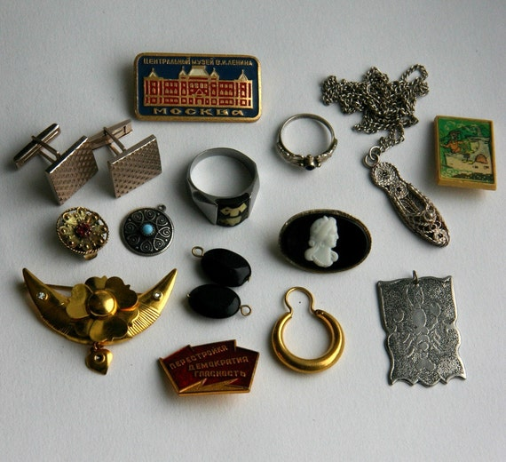 Vintage Soviet Jewelry Lot Rings Brooches Pendants Cuff Links 14 Pieces for Repurpose