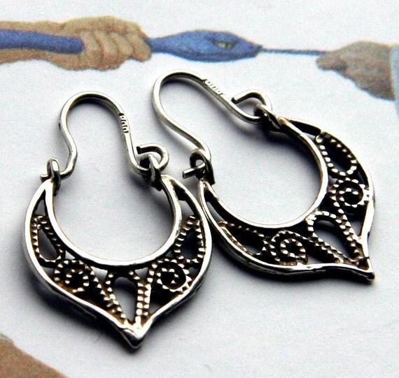 Small Antique Italian Silver 800 Oriental Gypsy Tribal FIligree Girl Hoop Earrings