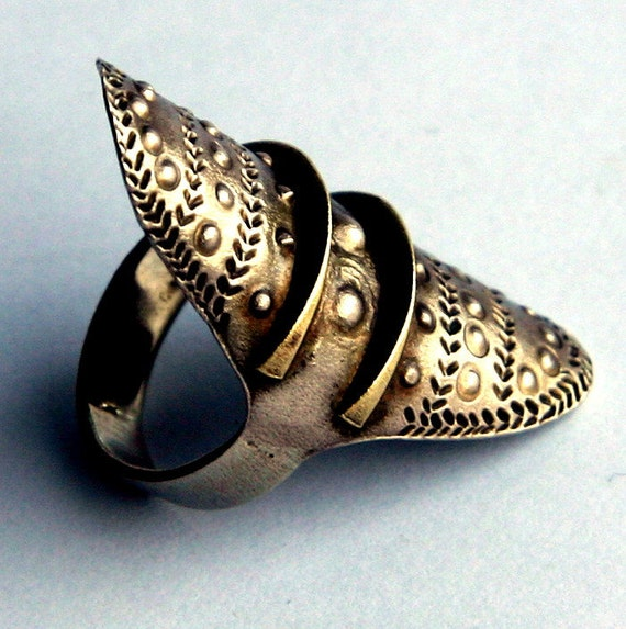 Large Vintage Tribal Ethnic Silver Metal and Brass Viking Medieval Shield Ring Unisex