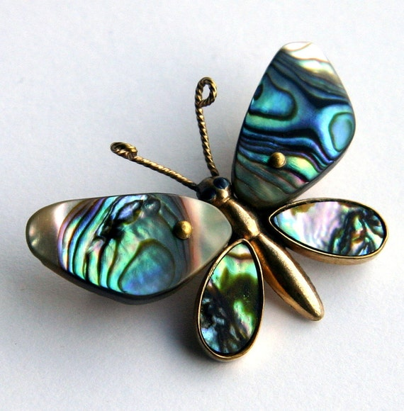 Vintage Irridiscent Green Blue Abalon Shell Brass Hand Crafted Boho Butterfly Brooch...