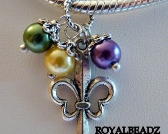 Fleur De Lis Mardi Gras Large Hole Charm Spacer Bead with Glass Pearls for fits European Style Bracelets