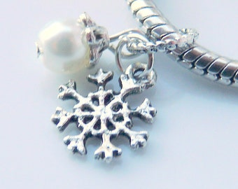 Winter Snowflake Charm Bead with White Pearl for fits European Style Bracelets