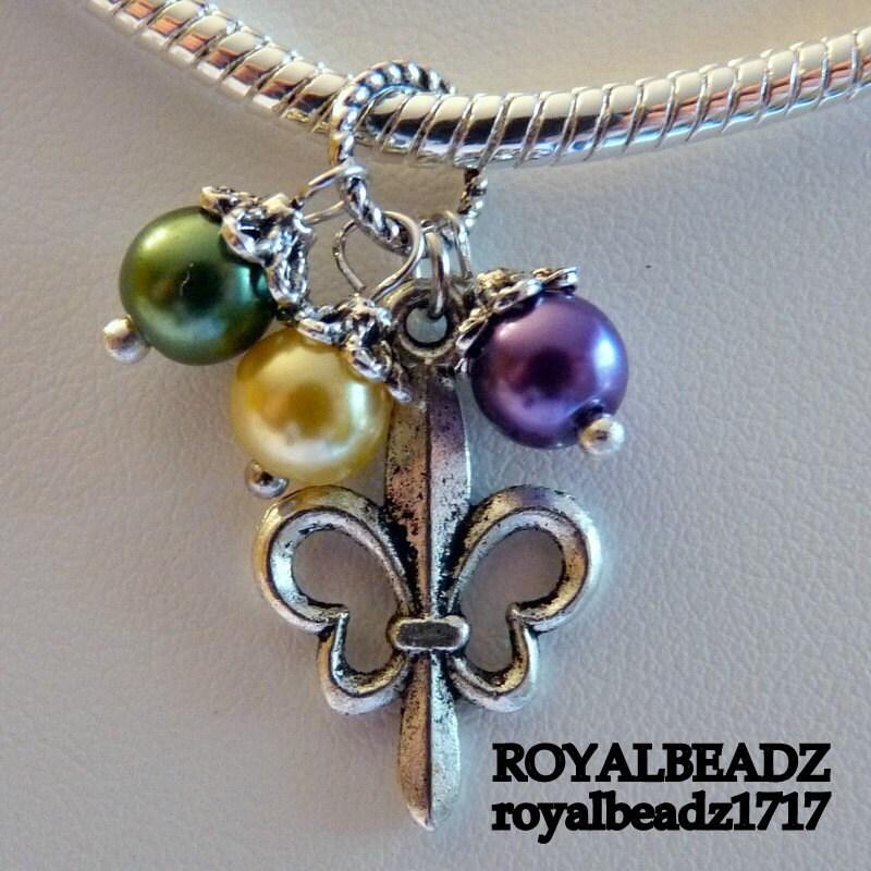 Fleur De Lis Charm Bracelet: Fleur De Lis Mardi Gras Large Hole Charm Spacer Bead By