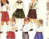 McCalls 3900 girl's skirt pattern for sizes 3 4 and 5