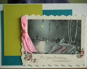 Happy Birthday Love Card Repurposed Vintage Card One of A Kind