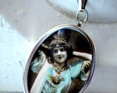 Gypsy Necklace Repurposed Vintage Postcard Pendant One of A Kind