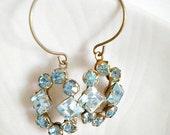 Wedding Earrings Jeweled Repurposed Vintage Bridal One of a Kind