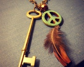 Peace Feather Skeleton Key Necklace One of A Kind