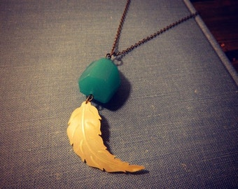 Feather Necklace Mother of Pearl One of A Kind