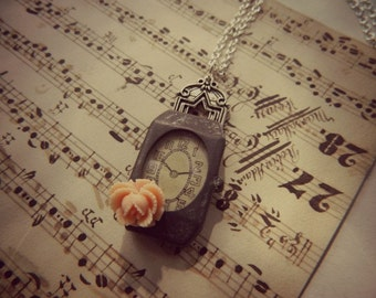 Clock Necklace Repurposed Vintage Childrens Toy Peach Rose One of A Kind