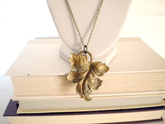 Leaf Necklace Fall Autumn Patina One of A Kind