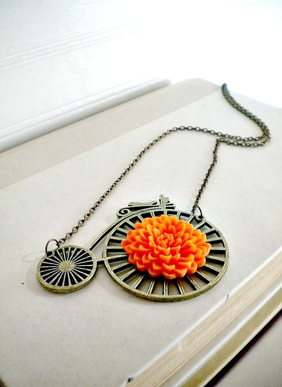 Bicycle Necklace Penny Farthing Orange Mum One of A Kind