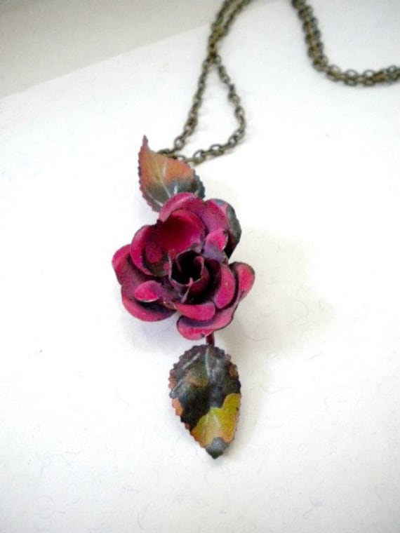 Rose Necklace  Repurposed Chippy Paint Metal