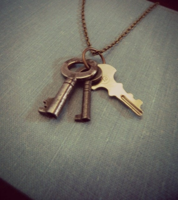 Skeleton Key Collection Necklace Rock and Roll Rust One of A Kind