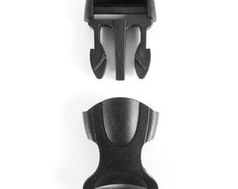 "One Inch 1"" (25mm) Black Heavy Duty Plastic Side-Release Buckles, Single-Adjusting"