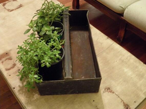 Vintage Metal Tool Tray Planter Box