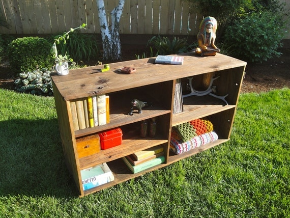 FRANKLIN ~ Handmade Reclaimed Wood Record Cabinet Book Case Storage Unit